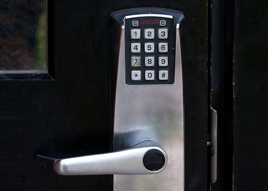 Keypad on door lock and handle